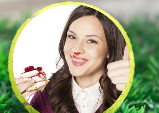 Girl with jam over her face.